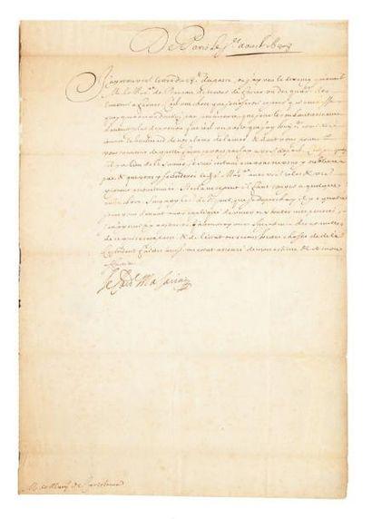 """MAZARIN Jules (1602-1661) cardinal et homme d'État Lettre signée """"Le Cardl Mazarini"""",..."""