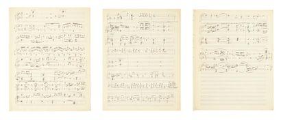 RAVEL Maurice (1875-1937) Manuscrit musical autographe, [La Nuit]; 8 pages in-fol....