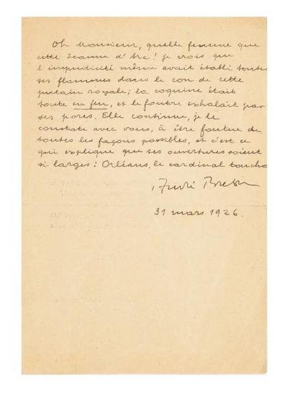 BRETON André (1896-1966) Lettre autographe signée, 31 mars 1926, [à Auguste Martin,...