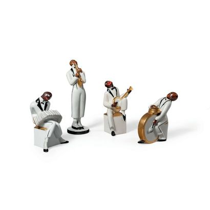 ROBJ & CO MANUFACTURE (ACTIF ENTRE 1920 ET 1939) Orchestre de Jazz, suite de quatre...
