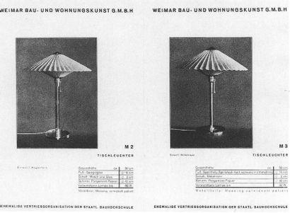 WILHELM WAGENFELD (1900-1990) AND CARL G. JUNCKER Rare lampe à poser modèle «WG-28»...