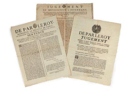 [AFFICHES]. Ensemble 3 affiches du XVIIIe...