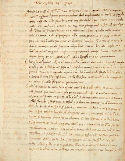 [SODOMIE]. Manuscrit, Florence 7 juillet...