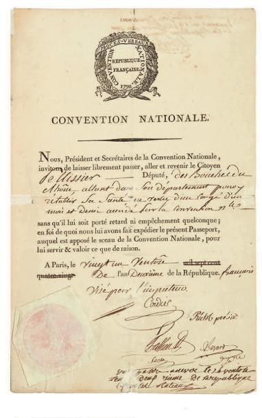 CONVENTION NATIONALE. Pièce signée par 4...