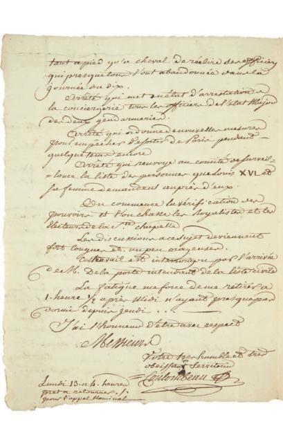 COULOMBEAU (Claude, 1751- ?)  secrétaire-greffier de la Commune de Paris
