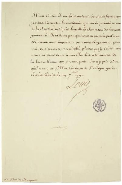 LOUIS XVI (1754-1793). Lettre signée