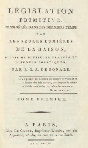 BONALD (Louis-Gabriel-Antoine, vicomte de)