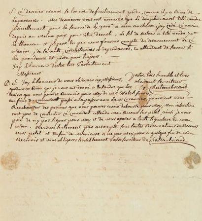 CHATEAUBRIAND (René Auguste de, 1718-1786) comte de Combourg, capitaine de navire et armateur, père