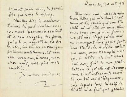 [DREYFUS]. Émile ZOLA (1840-1902). Lettre...