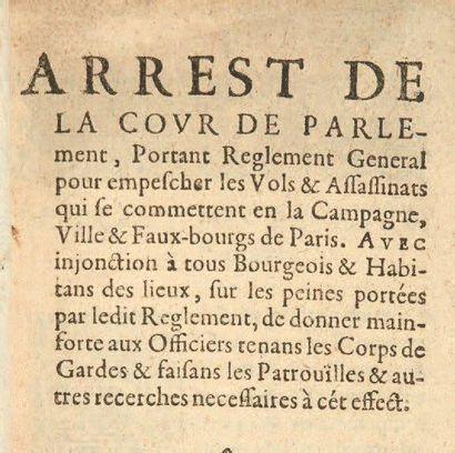 Arrest de la cour de Parlement, portant reglement...