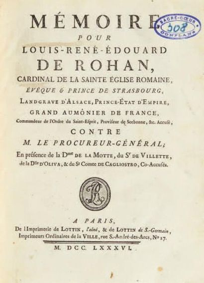 [COLLIER DE LA REINE]. Ensemble de 21 ouvrages. 1786. 21 pièces reliées en un volume...