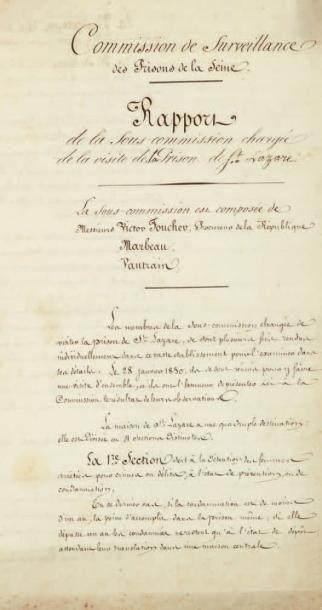 PRISON DE FEMMES. Manuscrit (copie d'époque)...