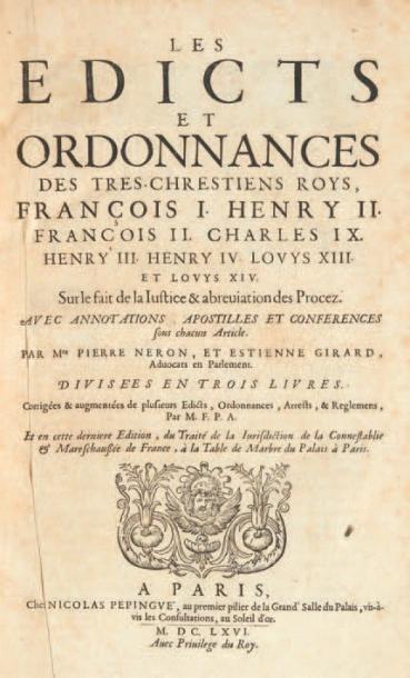 Les Edicts et ordonnances des tres-chrestiens...