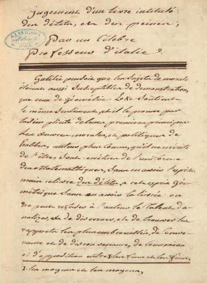 [BECCARIA (Cesare, 1738-1794) juriste, criminologue et philosophe italien] Des Délits...