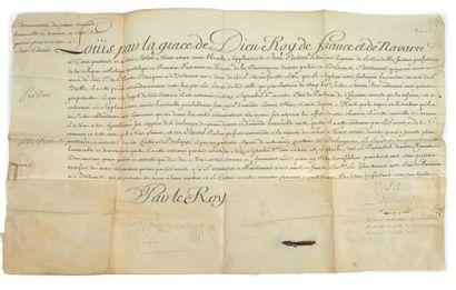 LOUIS XV (1710-1774). Pièce signée