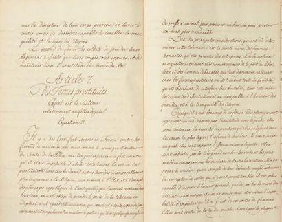 [POLICE DE PARIS]. Manuscrit, Mémoire sur...
