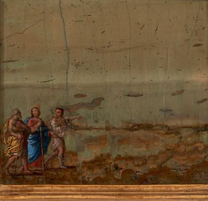 Ecole Florentine du XVIIe siècle Le Christ et les Pèlerins d'Emmaüs Paesine (accidents)....