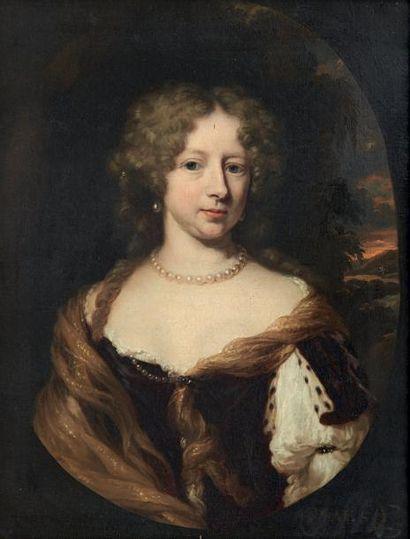 NICOLAS MAES (DORDRECHT 1634-AMSTERDAM 1693) Portrait de femme dans un ovale peint...