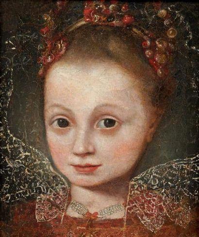 École ESPAGNOLE du XVIIe siècle Portrait de fillette Sur sa toile d'origine, un fragment...
