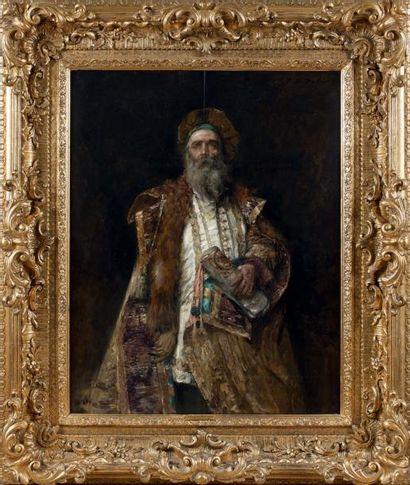 HIPPOLYTE FRANÇOIS DULUARD (PARIS 1871-? 1953) Portrait d'un boyard Panneau. Signé...