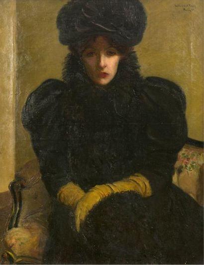 LILLA CABOT PERRY (1848-1933) Portrait d'une élégante, Paris, 1896 Huile sur toile....