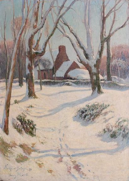 Henry MORET (1856-1913) Neige en Bretagne, 1892-1894 Huile sur toile. Signée, datée...