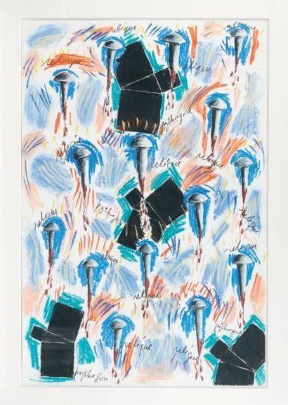 Georges AUTARD (né en 1951) Dessin Napolitain, 1989 Pastel sur papier. H_110 cm L_75...
