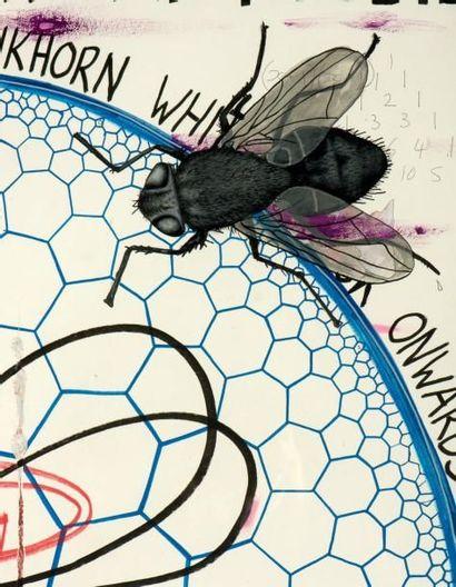 KEITH TYZON (NÉ EN 1969) Studio Wall drawing, 2009 Technique mixte sur papier. Signée...