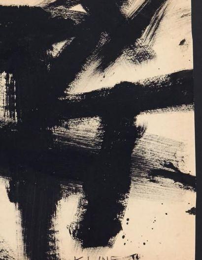 Franz KLINE (1910-1962) Untitled, ca 1959 Encre noir sur papier. Signée en bas à...