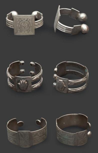 Deux paires de bracelets de cheville khalkhal...