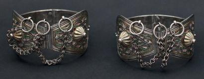 Paire de bracelets de cheville, khalkhal, Moyen Atlas articulés, en argent partiellement...