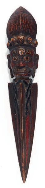 DAGUE rituelle en bois polychrome sculptée...