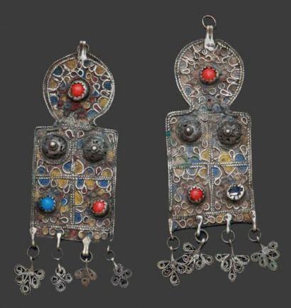 Paire de pendentifs de natte, Ouarzazate...