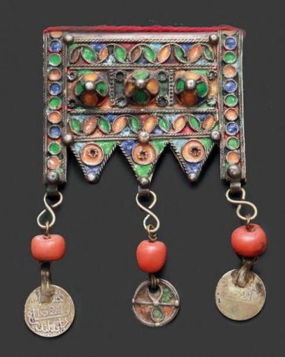 Porte-amulette, herz, Tiznit en argent émaillé...