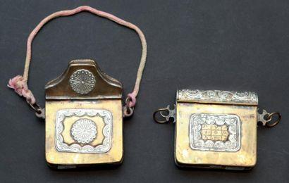 Deux porte-corans en argent et cuivre jaune,...