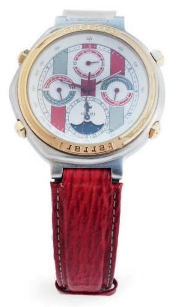 Ferrari (produite par Cartier) Montre bracelet chronographe en or et acier sur cuir...