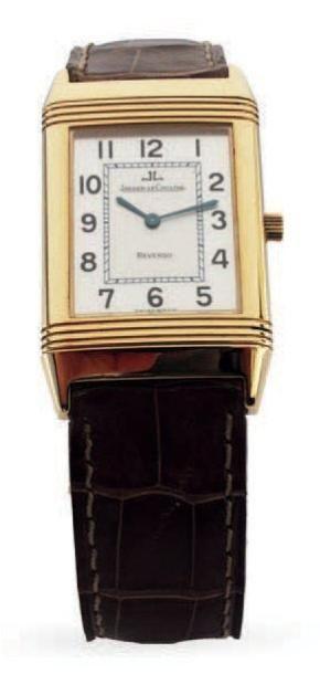 JAEGER LECOUTRE «Reverso classique «Montre bracelet réversible en or jaune, cadran...