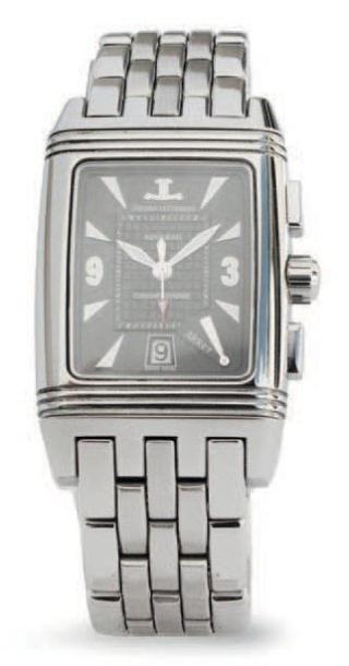JAEGER LECOUTRE Montre bracelet chronographe rétrograde, réversible, en acier. Au...