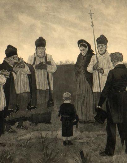 Félicien Rops (1833-1898) L'enterrement en pays Wallon Gravure. H_42 L_70 cm