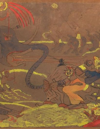 James Ensor (1860-1949) La blague de l'éléphant, 1888 Gravure rehaussée à la gouache....