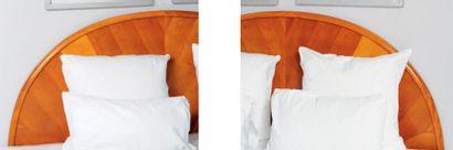 Tête de lit et table de chevet ouvrant à...