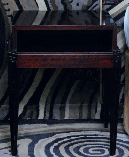 Paire de tables de chevet à gradins et pieds...
