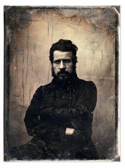 Auguste Mestral et Gustave Le Gray Homme barbu (Clesinger) à l'allure sombre, 1848...