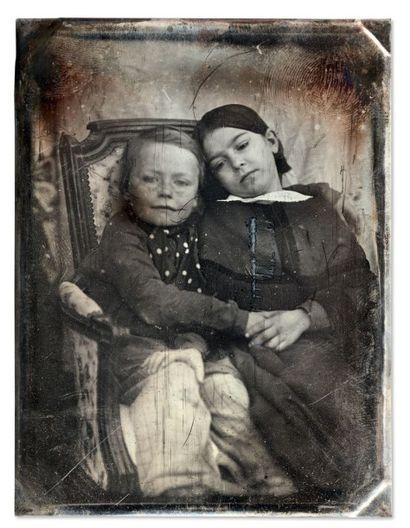 Auguste Mestral et Gustave Le Gray Portrait d'enfants,1848 Daguerréotype quart de...