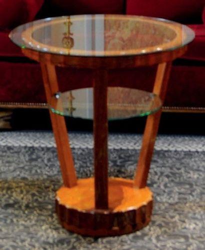 Guéridon circulaire de style Art Déco à trois montants H_61,5 cm D_60 cm