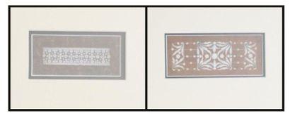 Projets de bijoux gouaches sur papier. Trois...