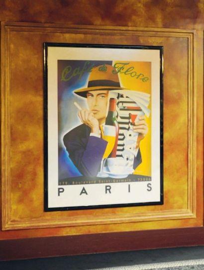Affiche encadrée d'après Razzia Café de Flore....