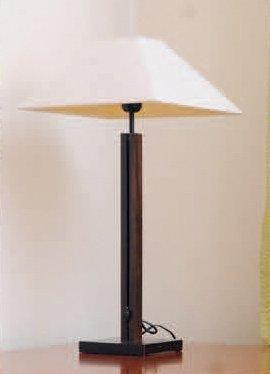 Lampe à poser en bois teinté, ajustable en hauteur H max_89 cm on y joint un plafonnier...