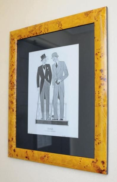 Deux reproductions encadrées «Paris la mode Masculine» & «Les dandys» d'après Marc...