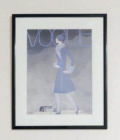 Une reproduction Vogue encadrée d'après Lepape...